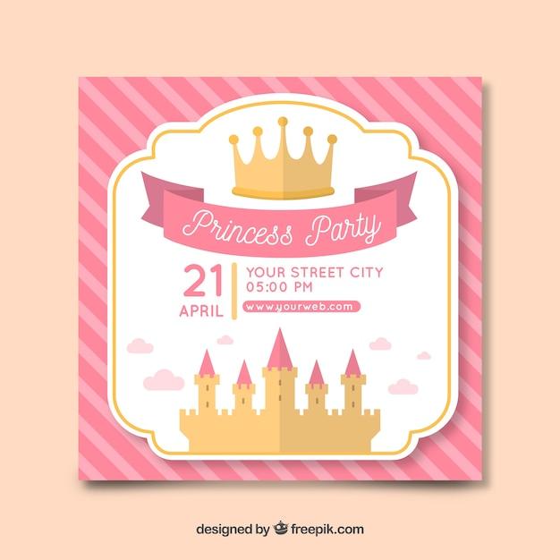 Modello di invito festa castello piatto principessa Vettore gratuito