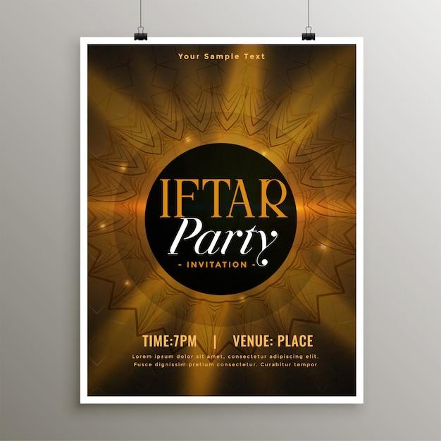 Modello di invito festa di cibo iftar ramadan Vettore gratuito