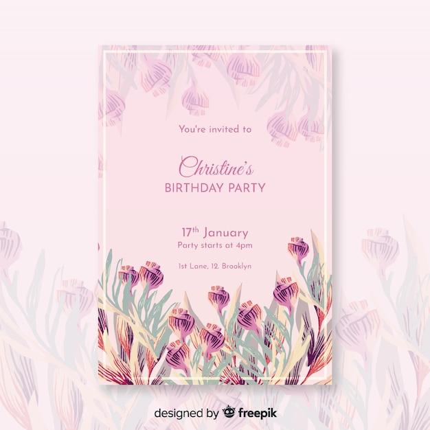 Modello di invito floreale bellissimo compleanno Vettore gratuito