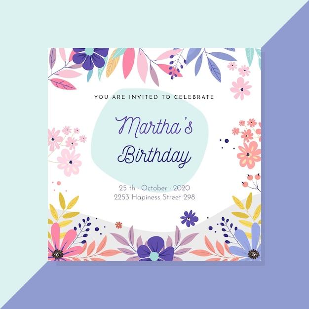 Modello di invito floreale compleanno Vettore gratuito