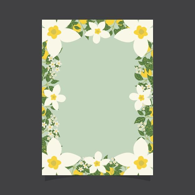 Modello di invito floreale con fiori di gelsomino e limoni Vettore Premium