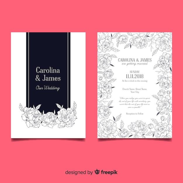 Modello di invito matrimonio bella con fiori di peonia Vettore gratuito