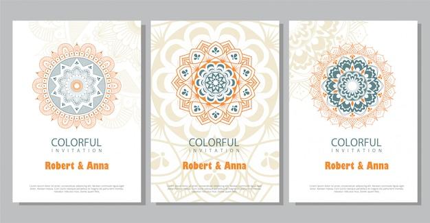 Modello di invito matrimonio colorato mandala. Vettore Premium