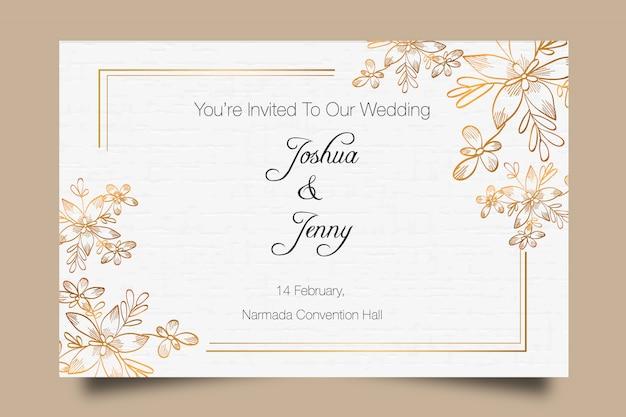 Modello di invito matrimonio disegnato a mano premium dorato Vettore Premium