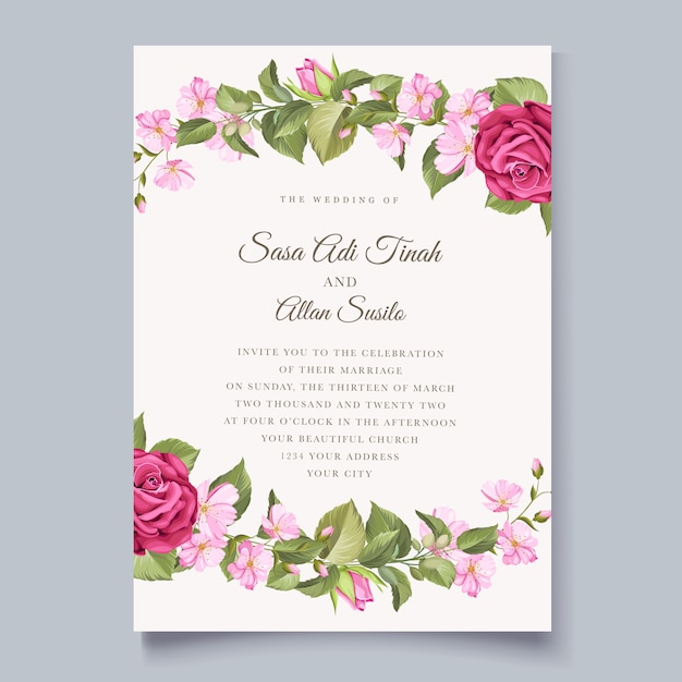 Modello di invito matrimonio floreale minimalista elegante Vettore gratuito