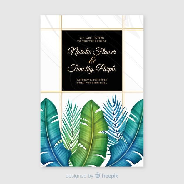 Modello di invito matrimonio tropicale dell'acquerello Vettore gratuito