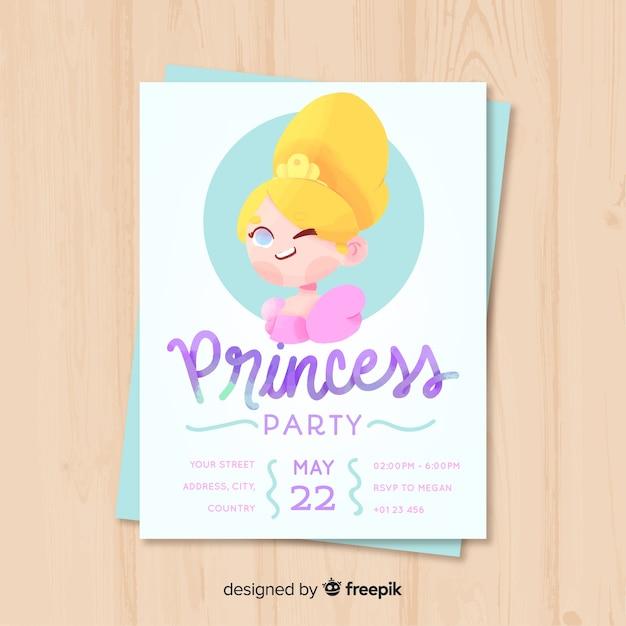 Modello di invito partito principessa disegnato a mano Vettore gratuito