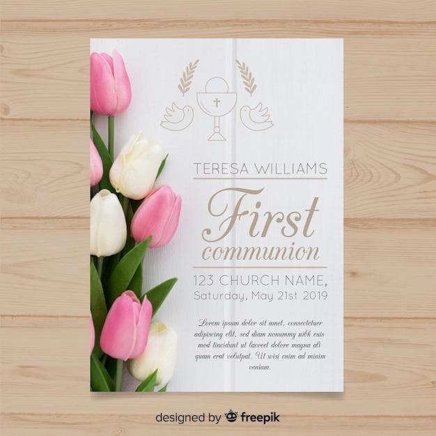 Modello di invito prima comunione con foto Vettore gratuito