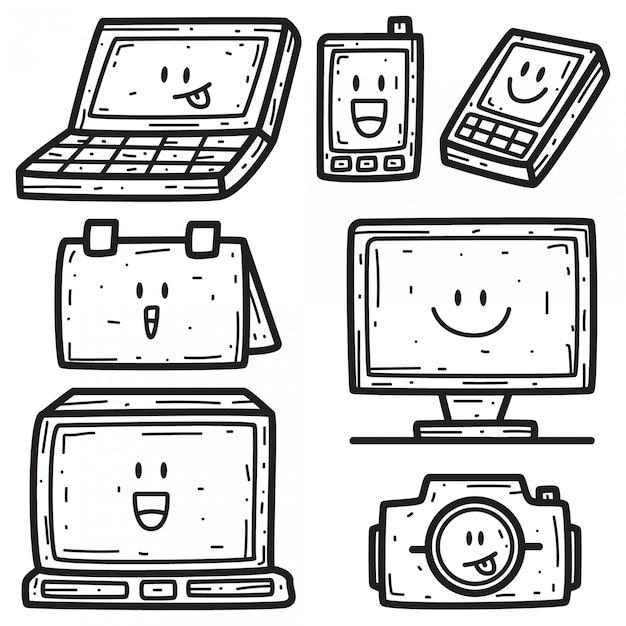 Modello di kawaii cartoon doodle design Vettore Premium