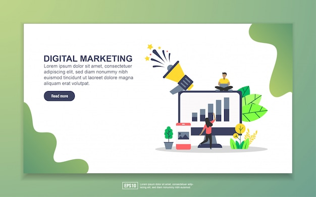Modello di landing page del marketing digitale Vettore Premium