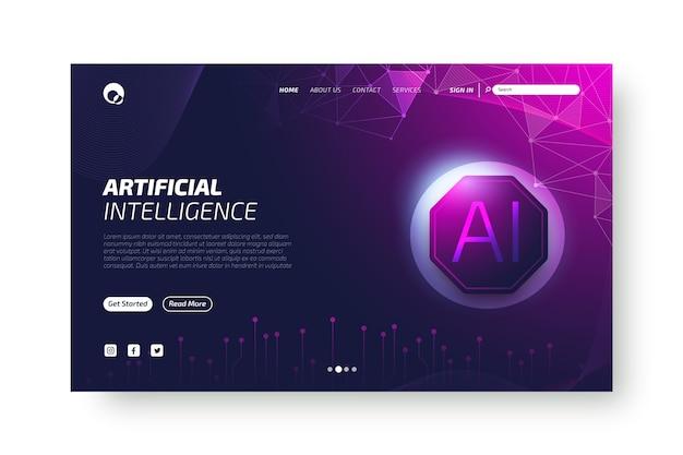 Modello di landing page di intelligenza artificiale Vettore gratuito