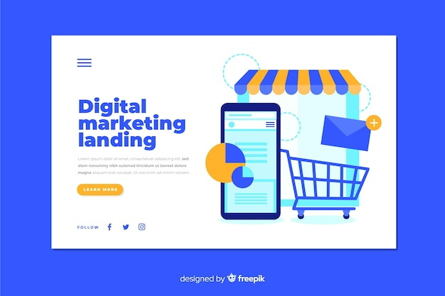 Modello di landing page di marketing digitale Vettore gratuito