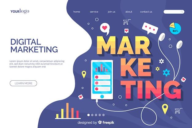 Modello di landing page di marketing digitale Vettore gratuito