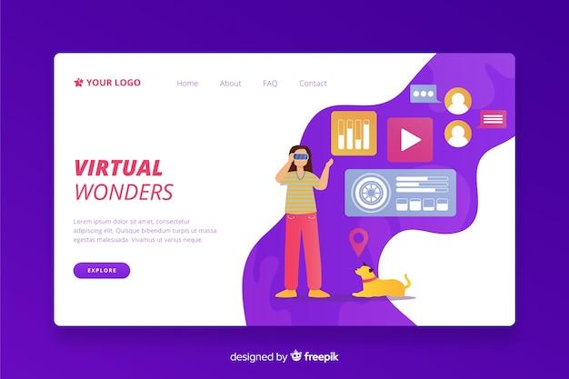 Modello di landing page di realtà virtuale Vettore gratuito
