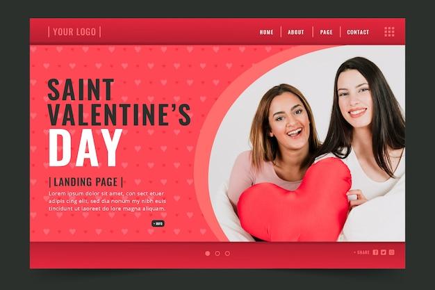 Modello di landing page di san valentino Vettore gratuito