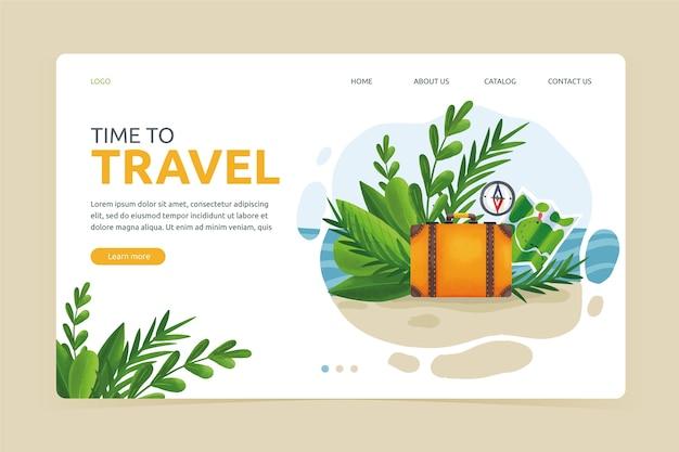 Modello di landing page di viaggio design piatto Vettore gratuito