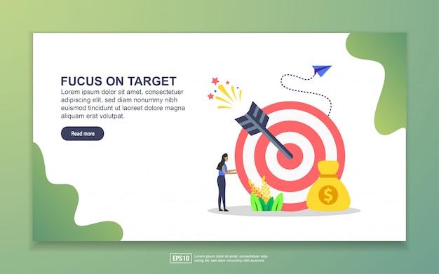 Modello di landing page focalizzato sull'obiettivo. concetto di design moderno piatto di design della pagina web per sito web e sito web mobile Vettore Premium