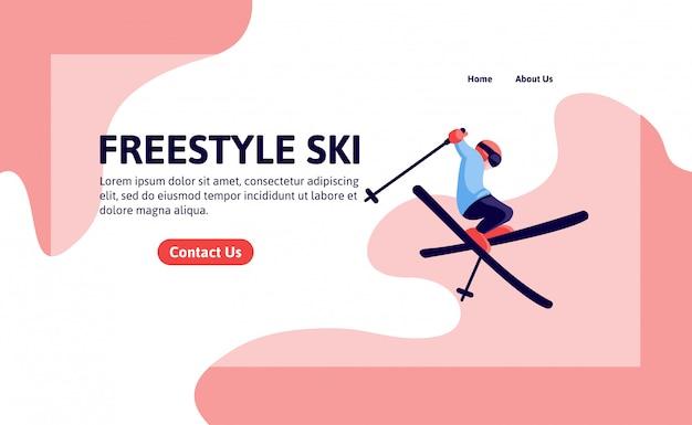 Modello di landing page per sci freestyle Vettore Premium