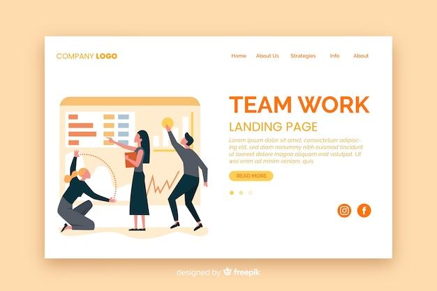 Modello di landing page piatto lavoro di squadra Vettore gratuito