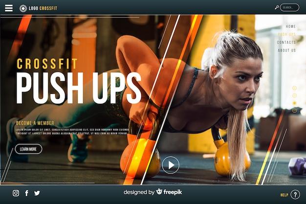 Modello di landing page sportiva con foto Vettore gratuito