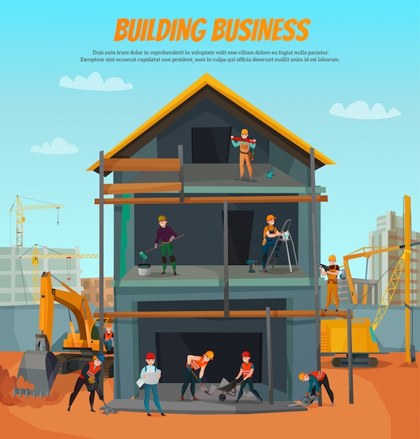 Modello di lavoratori edili Vettore gratuito
