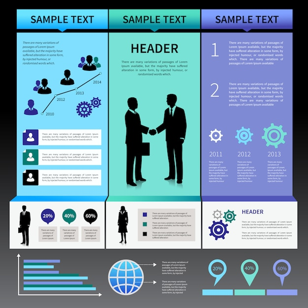 Modello di layout di presentazione infografica con uomini d'affari sagome e icone Vettore gratuito