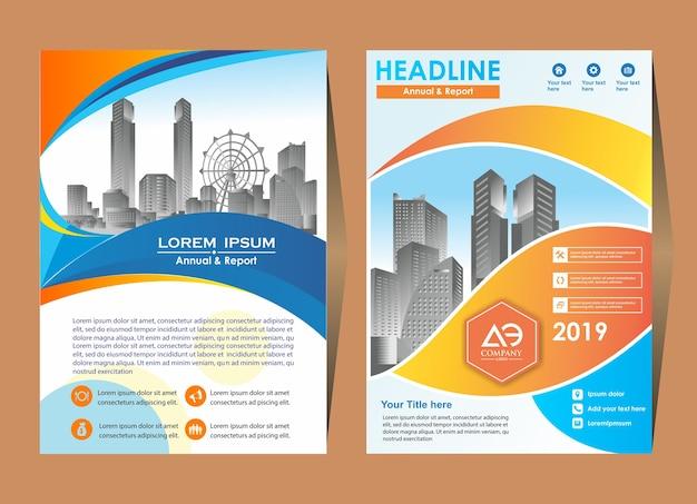Modello di layout di volantino brochure con elementi e segnaposto Vettore Premium