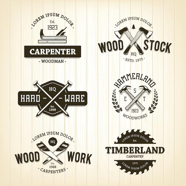 Modello di legno logo Vettore gratuito