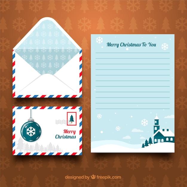 Modello di lettera di natale blu Vettore gratuito