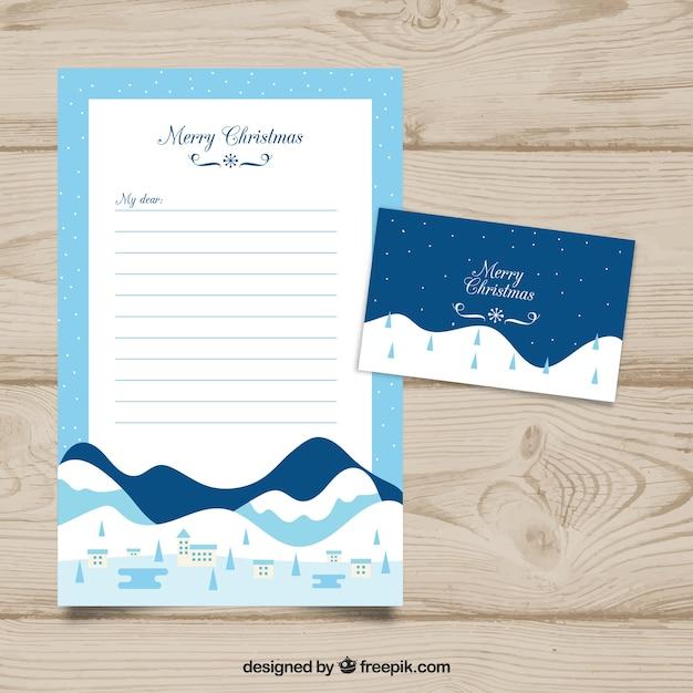 Modello di lettera di natale con paesaggio di montagna Vettore gratuito