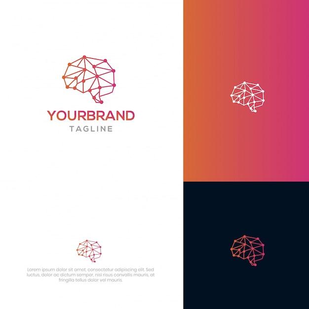 Modello di logo brain tech Vettore Premium