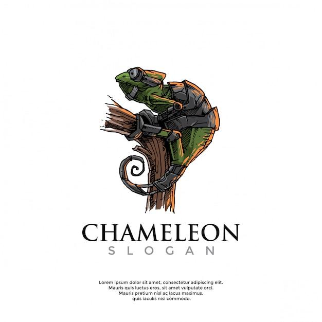 Modello di logo camaleonte steampunk disegnato a mano Vettore Premium
