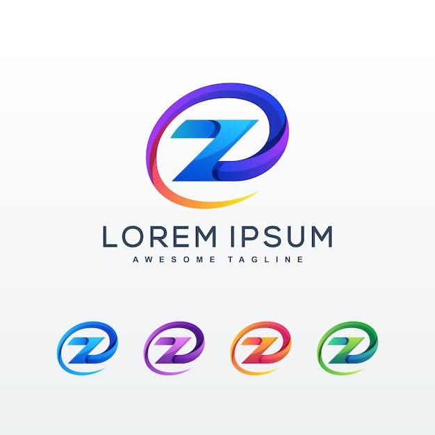 Modello di logo colorato astratto lettera z Vettore Premium