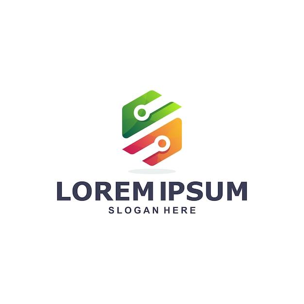Modello di logo colorato tecnologia esagonale Vettore Premium