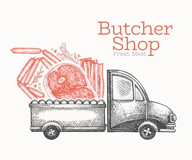 Modello di logo consegna macelleria. camion di vettore disegnato a mano con illustrazione di carne. design retrò in stile inciso. Vettore Premium