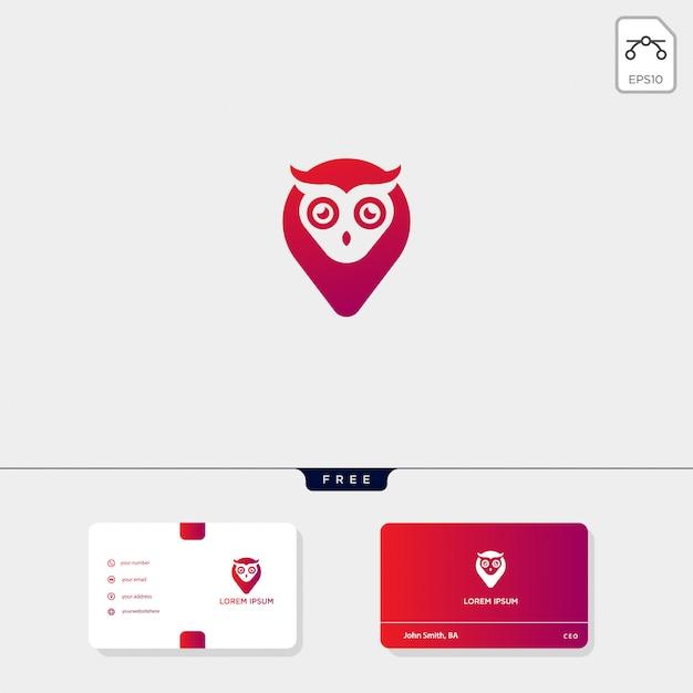Modello di logo creativo concetto gufo e modello di biglietto da visita includono Vettore Premium