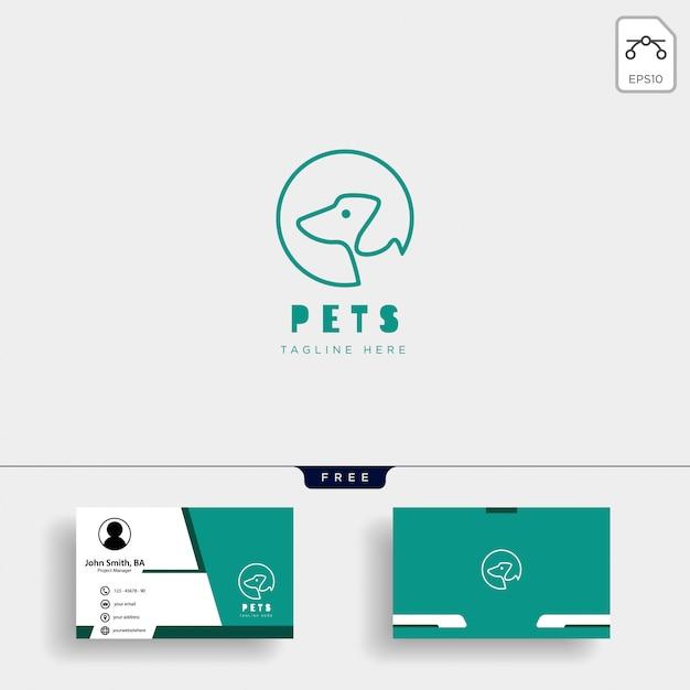 Modello di logo creativo cura animale domestico gatto con biglietto da visita Vettore Premium
