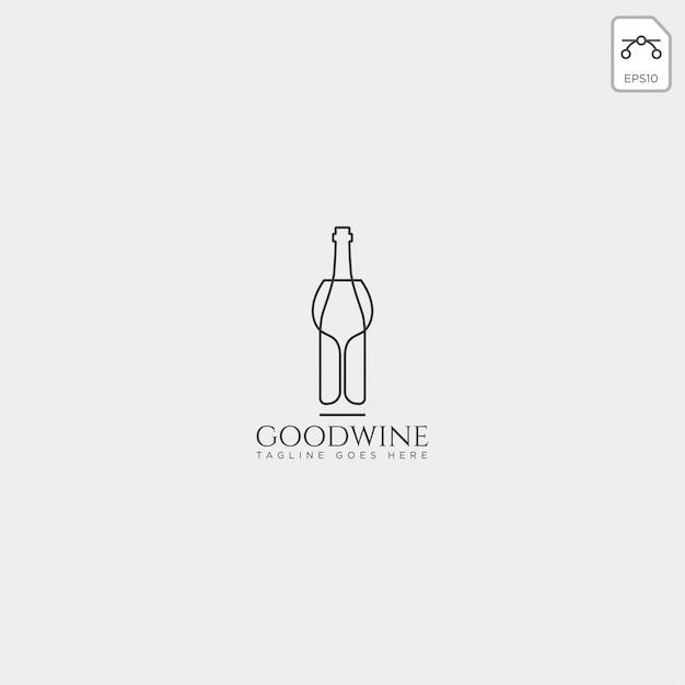 Modello di logo creativo di birra vetro e bottiglia, elemento dell'icona Vettore Premium