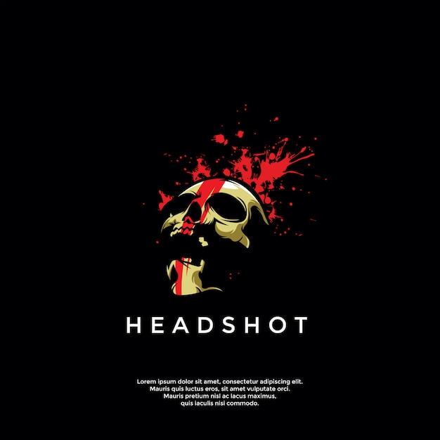 Modello di logo del cranio headshot Vettore Premium