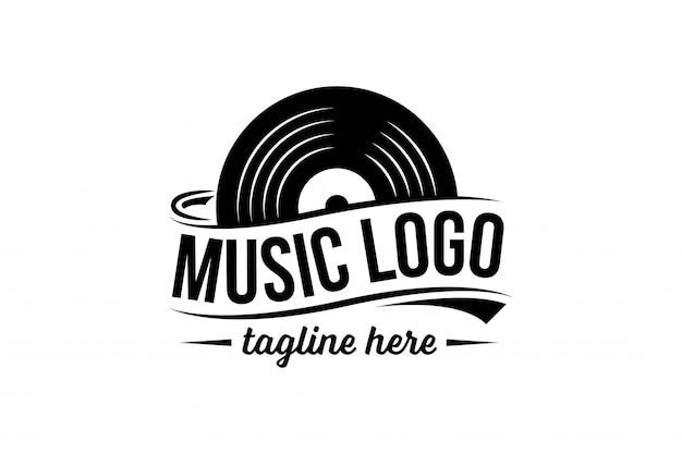 Modello di logo del disco in vinile Vettore Premium