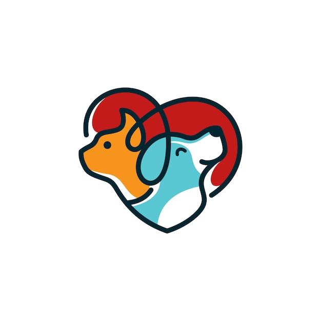 Modello di logo del gatto del cane veterinario Vettore Premium