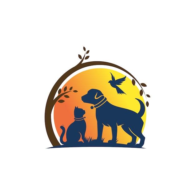Modello di logo del gatto e dell'uccello del cane veterinario Vettore Premium