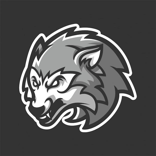 Modello di logo del lupo Vettore Premium