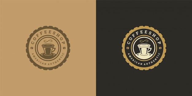 Modello di logo del negozio di tè o caffè con silhouette di fagioli buona Vettore Premium