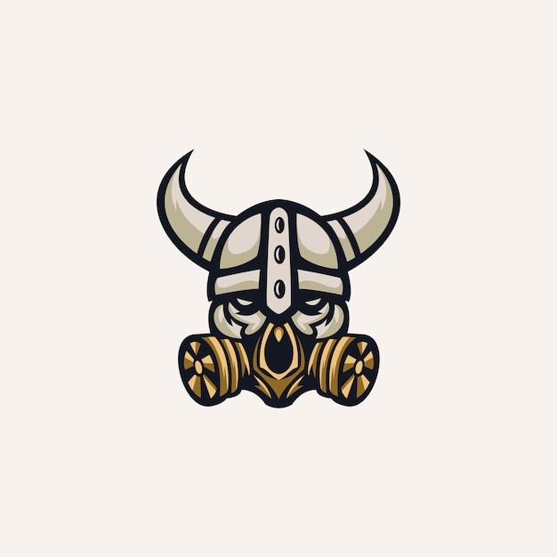 Modello di logo del teschio vichingo Vettore Premium