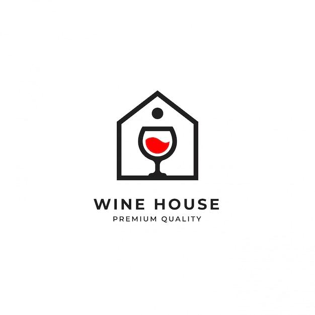 Modello di logo del vino Vettore Premium