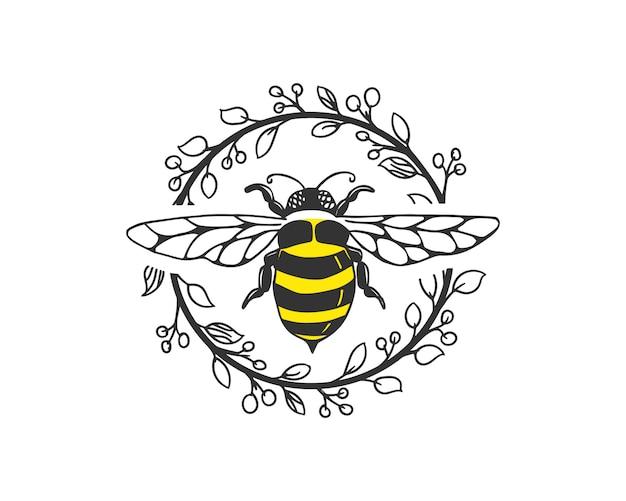 Modello di logo dell'ape Vettore Premium