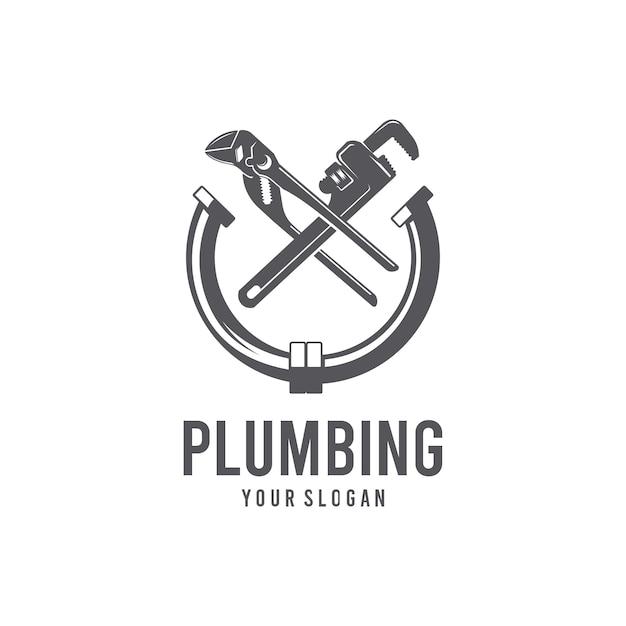Modello di logo dell'impianto idraulico Vettore Premium