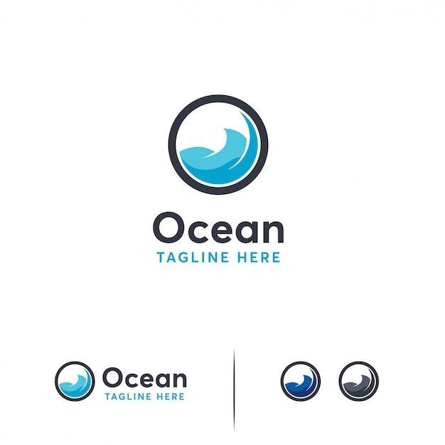 Modello di logo dell'oceano Vettore Premium