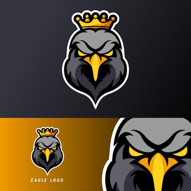 Modello di logo della mascotte di gioco di aquila reale re sport esport nero, adatto per squadra streamer Vettore Premium